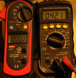 Meters with power off 42.1V
