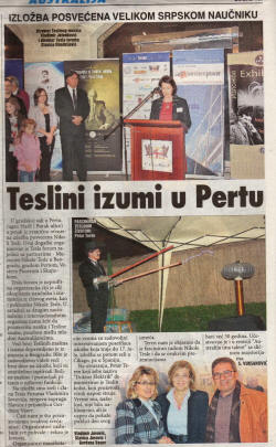 Vest Serbian newspaper July 2011 re Tesla Expo with Dr Electric.
