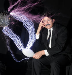 Modern interpretation of Tesla and his light globe